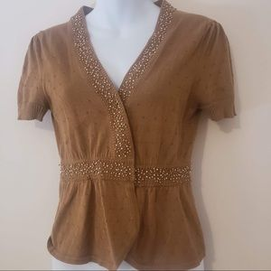 Moth Brown Cropped Beaded Cardigan